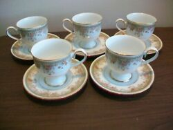 Noritake Ireland Morning Jewel 2767 Set Of 5 Footed Coffee Cups And Saucers