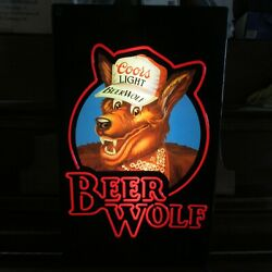 Vintage 1980s Coors Light Beer Wolf Lighted Working Bar Pub Sign Man Cave Sign