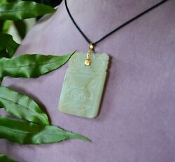 Antique Large Inscribed Chinese Carved Jade Hanging Pendant Plaque Amulet