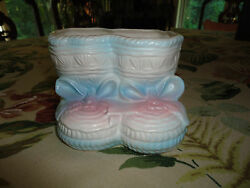 Vintage Rubens Made In Japan Baby Booties Porcelain Planter Ornament 4.5x3.5