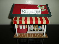 Vintage Wind Up Musical Moving Toy Shoppe With Bear Opening Front Door Handmade