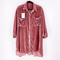 Free People Luxe Velvet Shirt Dress Size Xs Pink Bloom Taylor Swift Nwt