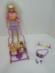 2001 Barbie And Krissy Stroll Nand039 Play 3 In 1 Set - Barbie Stroller 50964