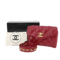 Bicolore Quilted Bum Bag Red Lambskin Leather Vintage Auth Junkab831 O