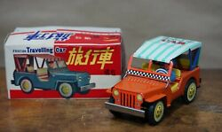 1970 Vintage Red China Mf 379 Traveling Car Friction Tin Toy Jeep Willys Driver