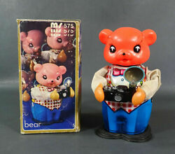 1960s Vintage Red China Ms575 Bear With Flash Camera Litho Wind Up Tin Toy Boxed