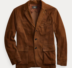 Polo Double Rrl Brown Suede Leather Jacket Sport Coat Xxl 2x 2200