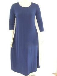 Travel Knit Dresslong A-line 3/4 Sleeve New Stretchy No-iron Poly/span Blue