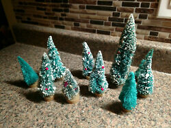 Vintage Lot Of 9 Bottle Brush Christmas Trees Village With Ornaments Green