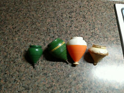 Vintage Top Lot Of 4 Spinning Tops Sir Duncan Wooden Plastic Old Toys