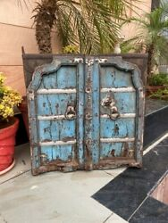 1700and039s Antique Wood Carved Blue Washed Rustic Floral Castle 32 X 29and039and039arch Door