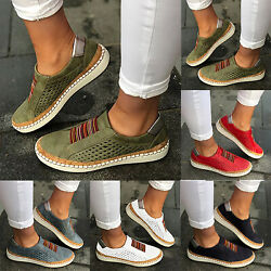 Womens Ladies Flat Slip On Sneakers Casual Trainers Loafers Pumps Shoes Size New
