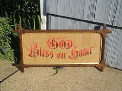 Antique Adirondack Picture Frame God Bless Our Home Motto 81/2 X 20 7/8 Leaf Cnr