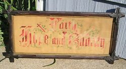 Antique Adirondack Picture Frame Faith Hope And Charity Motto 8 1/2 X 21