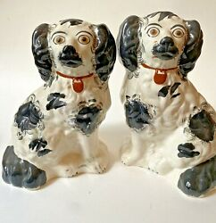 Pair Black And White Antique Staffordshire King Charles Spaniel Dog Figurines