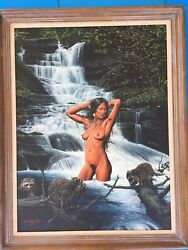 Michael Oandrsquoloughlin Listed American Artist Nude Native American / Tiki Painting