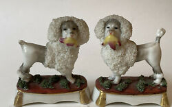 Antique Old Staffordshire Ware England Pair Confetti Poodle Dogs 4 Figurines