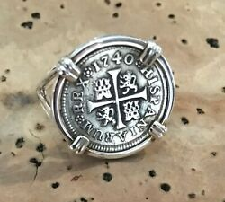 Pirate Coin Treasure Piece Of Eight Spanish Authentic 1/2 Reale Set Ss Ring