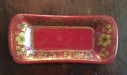 Antique 19th C. English Regency Tole Pen Tray Scarlet Red With Gilt Gold Flowers
