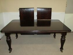 Mahogany Dining Table 2 Leaves 6and039 8and039 Or 10and039 Long Wheeled Feet