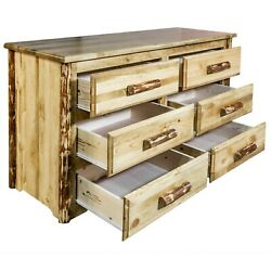 Rustic Log Dressers 6 Drawer Amish Made Chest Of Drawers Rustic Lodge Furniture