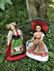 Set Of Two Vintage Cultural Ethnic Dolls, Purses With Zipper. Spain Or Italy