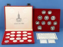 Russia 1977-80 Olympic 14 X 10 Rouble 33g And 14 X 5 Rouble 16g Silver Full Set.