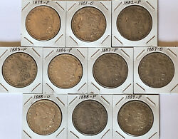 Lot Of 10 Morgan Silver Dollars. All Different Dates Great Set Coins Half Roll