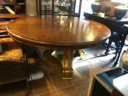 Large Antique Style Round Dining Table Gold Base