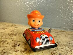 Vintage Tin Wind Up Fire Chief Car Japan