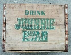 Rare Vintage Johnnie Ryan Soda Pop Bottle Wood Crate Box Sign First For Thirst