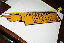 Antique Brosnahan And Olson Co Grafton Nd John Deere Finger Pointing Sign 1920s
