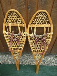 VINTAGE GREAT SNOWSHOES 36quot; Long x 11quot; GROS LOUIS Leather Bindings READY TO USE $58.55