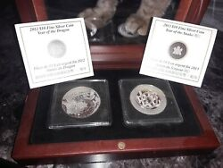 2 2012 2013 Silver 1/2 Year Of The Dragon Snake Set With Display