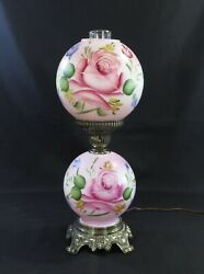 Hand Painted Hurricane Gwtw Parlor Lamp W/night Light In Base