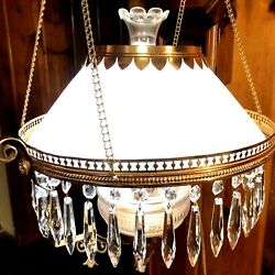 ⭐antique Victorian Hanging Oil Lamp With Glass Crystals Wired⭐