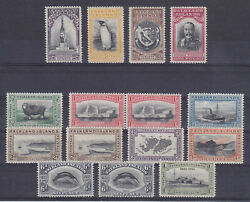 Falkland Islands 1933, Sg 127-138 + 3 Addit. Stamps, Mlh, Very Fresh And Fine