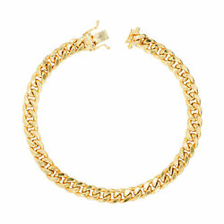 14k Yellow Gold Mens 7.5mm Miami Cuban Link Chain Bracelet Safety Box Clasp 8