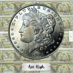 1884-o Aaaa Gem Bu Pl Both Sides Morgan From Bank Bag Ace High Lm172