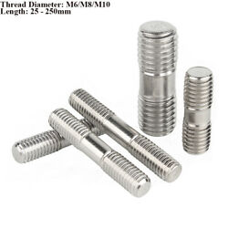 M8 M10 Partial Threaded Rod Stainless Steel Double End Studs Thread Bar Bolts