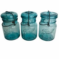 3 Ball Ideal Wire And Bale Canning Pint Jars Blue Glass Lid 2 Cup 16 Oz 9 6 100