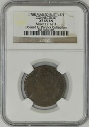 1788 Connecticut Mailed Bust Left M.12.1-f.1 Xf45 Ngc 943511-6 Dg Patrick Coll.