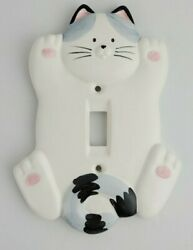 Takakashi Cats First Feline Hand Painted Porcelain Light Switch Cover