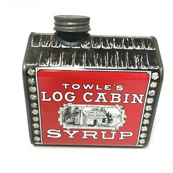 Vintage 1979 Towles Log Cabin Maple Syrup Tin Coin Bank General Food Corporation