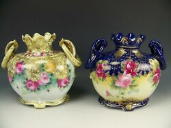 Pair Of Nippon Hand Painted Roses And Raised Gold Handles Vase Mark52