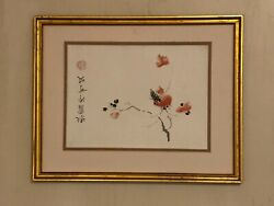 Vtg 1950s Original Signed Japanese Pen Ink Watercolor Painting Cherry Blossom