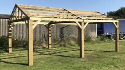 New 6m X 4.8m Wooden Shelter Car Port Hot Tub Gazebo Delivery Available