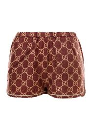 Red Gg Supreme Print Silk Shorts In 5281 Pink