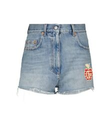 Embroidered Cotton Denim Shorts In Blue