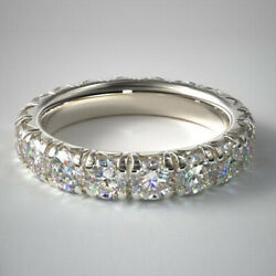 Solid 14k White Gold 3.00 Carat Round Cut Diamond Anniversary Bands Size 6.5 7 8